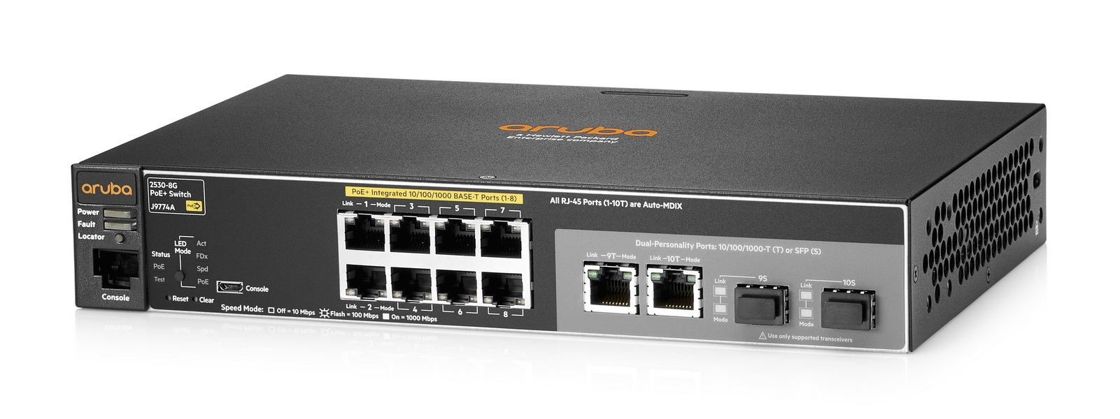 HPE J9774A#ACC - HPE Hewlett Packard Enterprise Aruba 2530 8G PoE+ Managed L2 Gigabit Ethernet [10/100/1000] Power over Ethernet [PoE] 1U Black