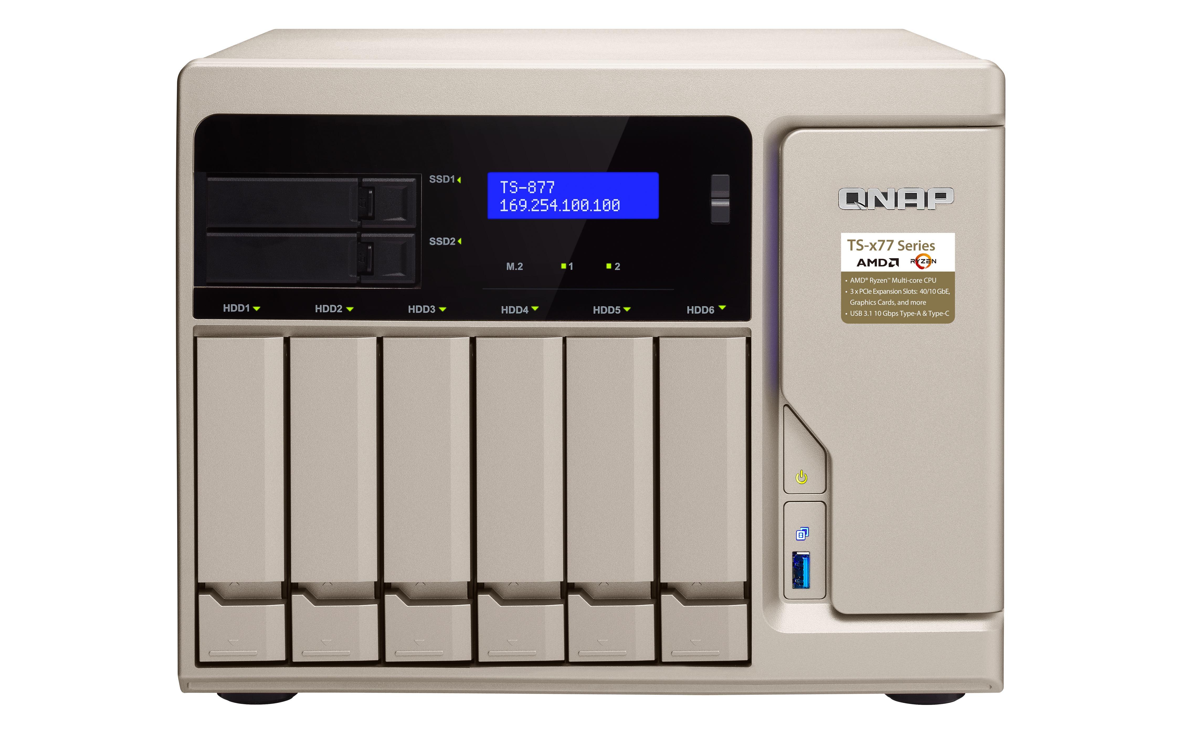 QNAP TS-877 Ethernet LAN Tower Gold NAS